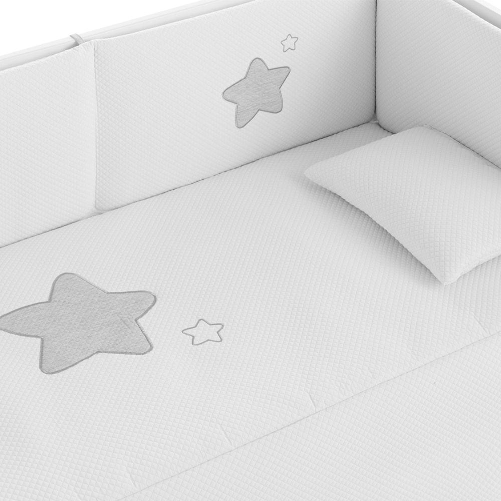 protector edredon cuna smooth star grey
